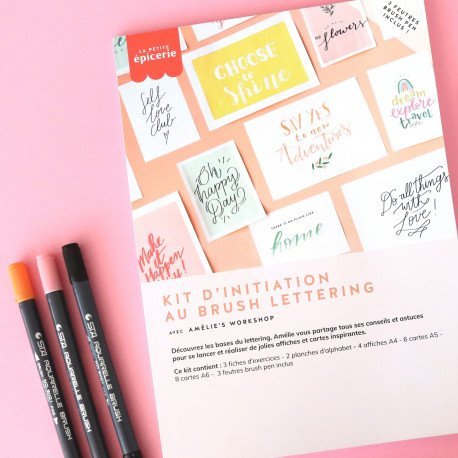 Kit d'initiation au brush lettering - rose/orange