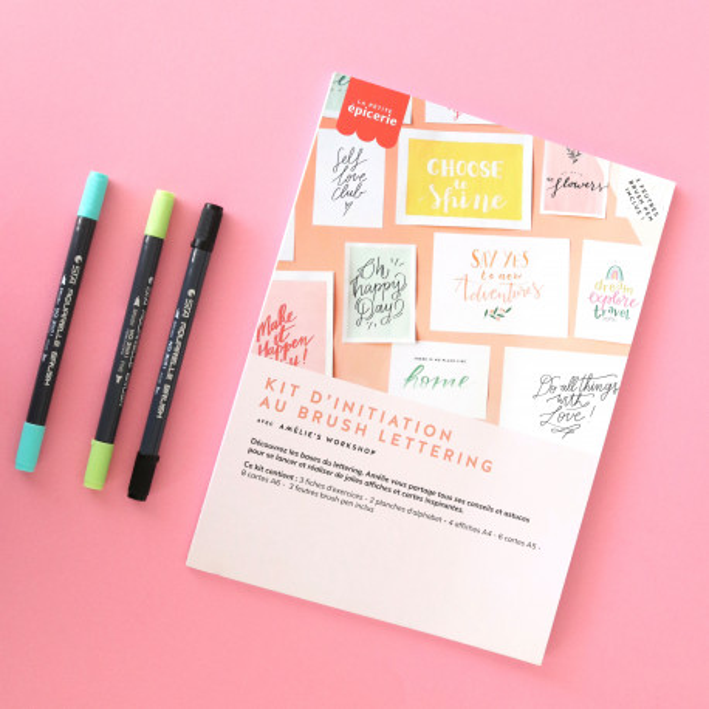Kit d'initiation au brush lettering - vert/bleu