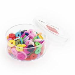 Boite de perles rondelles heishi 6 mm - mix de couleurs pop