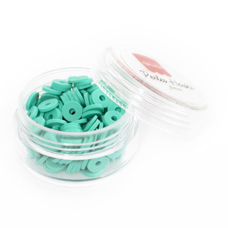 Boite de perles rondelles heishi 6 mm - turquoise