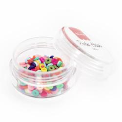 Boite de perles rondelles heishi 3 mm - mix de couleurs pop