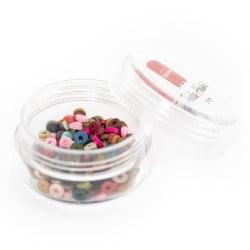 Boite de perles rondelles heishi 3 mm - mix de couleurs naturelles