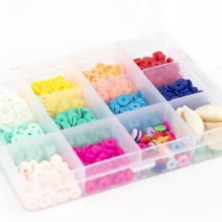Boite de 11 couleurs POP de perles heishi 6 mm + accessoires