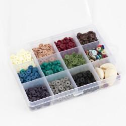 Boite de 11 couleurs NATURELLES de perles heishi 6 mm + accessoires