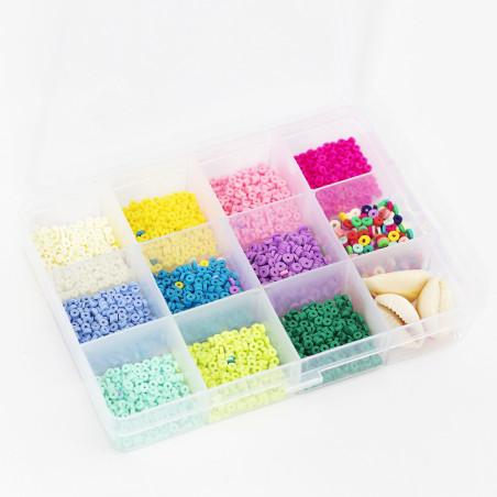 Boite de 11 couleurs POP de perles heishi 3 mm + accessoires