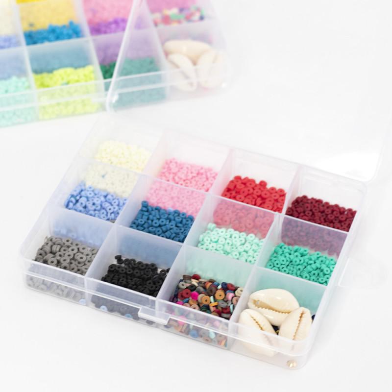 Boite de 11 couleurs NATURELLES de perles heishi 3 mm + accessoires