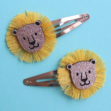 Barrettes cheveux - Lions