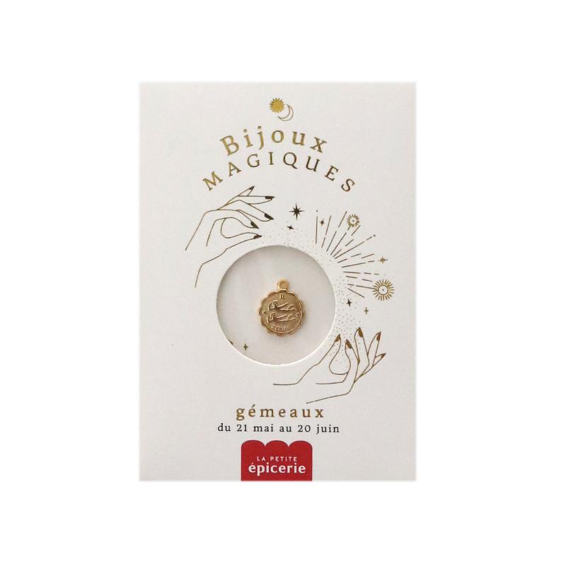Médaille astro dorée à l'or fin - Gémeaux