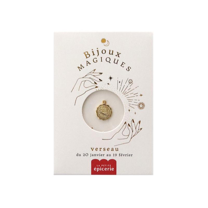 Médaille astro dorée à l'or fin - Verseau