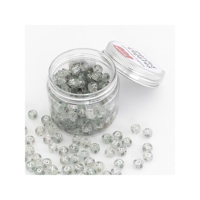 Pot perles lettres – Paillettes or