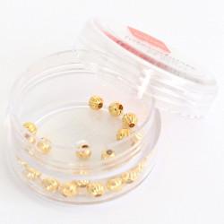 Lot de 20 perles heishi intercalaire - Boule dorée 4x4mm