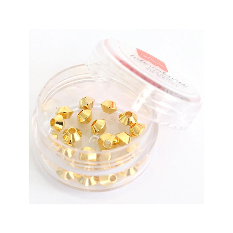 Lot de 20 perles heishi intercalaire - Toupie dorée 6x4mm