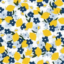 Tissu 20 m viscose – Fruits citrons / laize de 140 cm