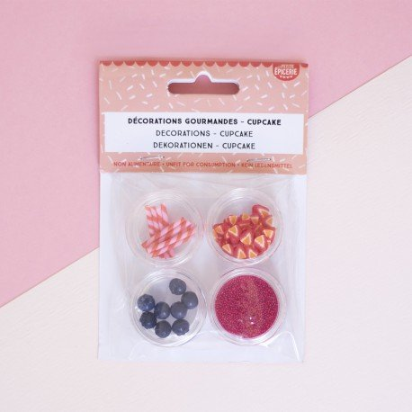 Lot de 4 décorations gourmandes - Cupcake