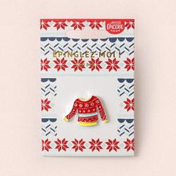 Broche pin's émaillé pull de Noël