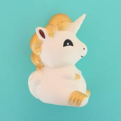 Gros squishy antistress - licorne blanche et dorée