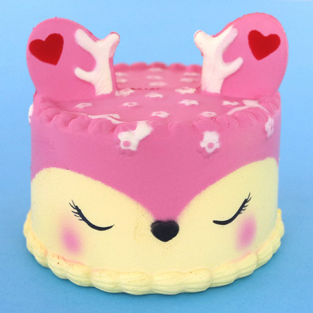 Gros squishy antistress - gâteau cerf rose
