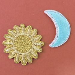 Ecusson thermocollant à paillettes - soleil & lune