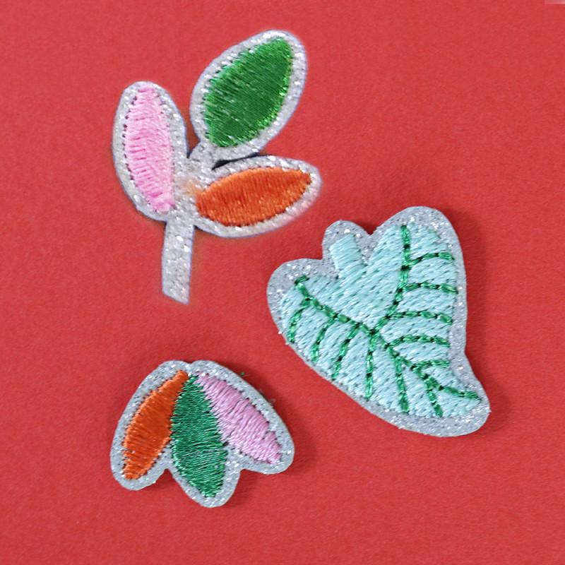 Ecusson thermocollant à paillettes - fleurs & feuilles