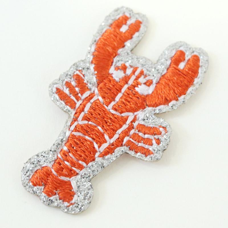 Ecusson thermocollant à paillettes - homard